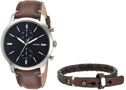 Fossil Men's '44mm Townsman' Quartz Stainless Steel and Leather Casual Watch, Color:Brown (Model: FS5394SET) by Fossil