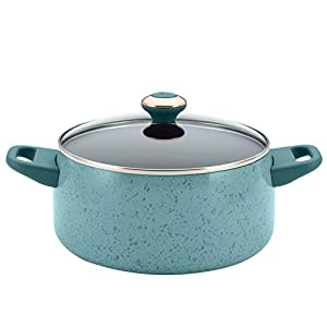 Paula Deen Signature Nonstick Cookware Pots and Pans Set, 15 Piece, Aqua Speckle