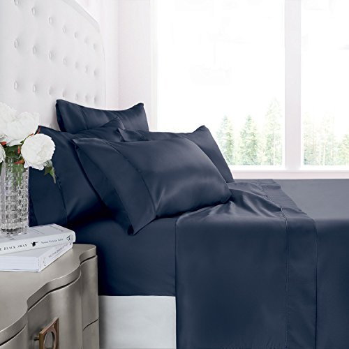 Egyptian Luxury 1200 Series Silky Soft Satin 4-Piece Bed Sheet Set - Ultra Smooth Satin Microfiber - Wrinkle and Fade Resistant, Hypoallergenic Sheet and Pillow Case Set - Full - Navy (4 Piece Italian)
