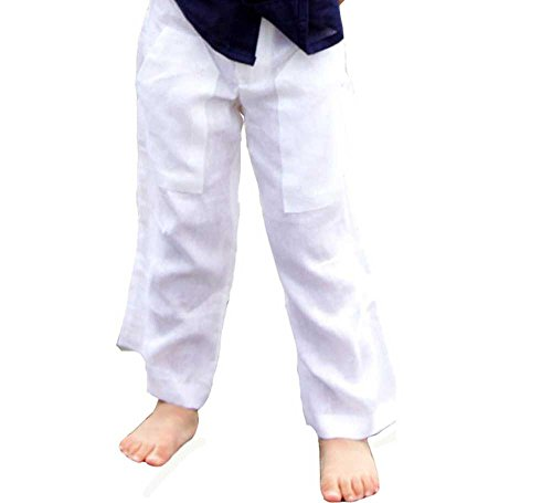 GUAYABERASCUBANAS Drawstring Two Pockets Linen Pants for Kids. Comfortable. (18-24, ()