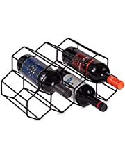 KOYEE Black Metal Wine Rack Freestanding, Tabletop Wine Rack Holder, Countertop Wine Bottle Holder - Geometric Design for Wine Cellar Bar Cabinet
