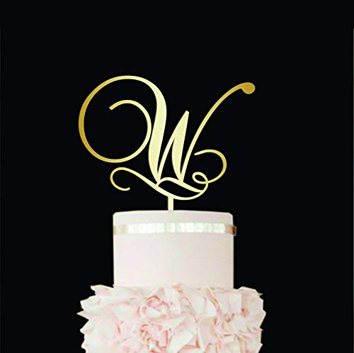 Letter W cake topper Cake toppers for wedding Gold monogram cake topper W cake topper Rustic cake topper Gold initial cake toppers with -