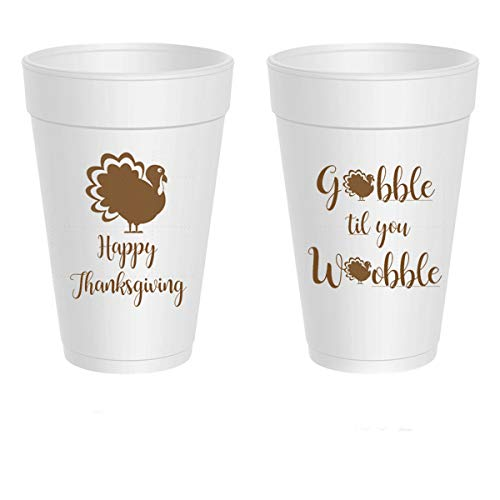 Thanksgiving Styrofoam Cups - Gobble Till You