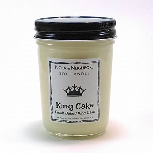 Handmade King Cake scented candle, soy candle, Mason jar soy candle Long 50+ Hour burn time, - Gift wrap and messaging available - Mardi Gras Ideas