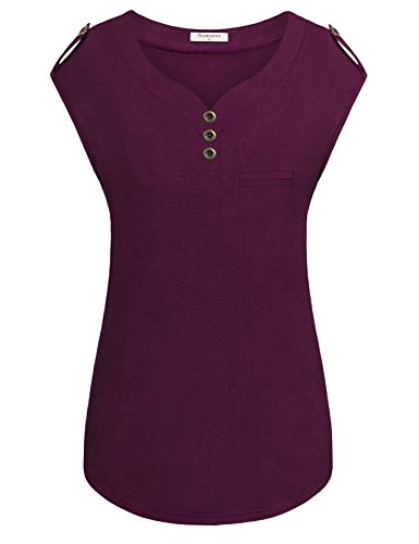 Shirt Women Solid, Lightweight Stretchy Cotton T Shirt Blouses With Shoulder Buttons (Purple, X-Large) (Solid Womens Cap Sleeve T-shirt)
