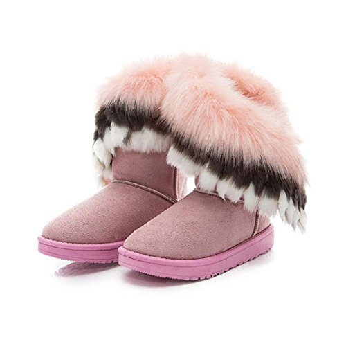 Botas rosa Ouneed de Botas nieve de nieve Botas Caliente Mujer zapatos piel Mujer ® Moda de Z5wwB8qC