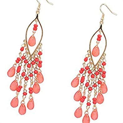 Women Long Bohemian Style Water Drop Pendant Dangling Beads Crystal Earrings Alloy Ear Stud Beaums