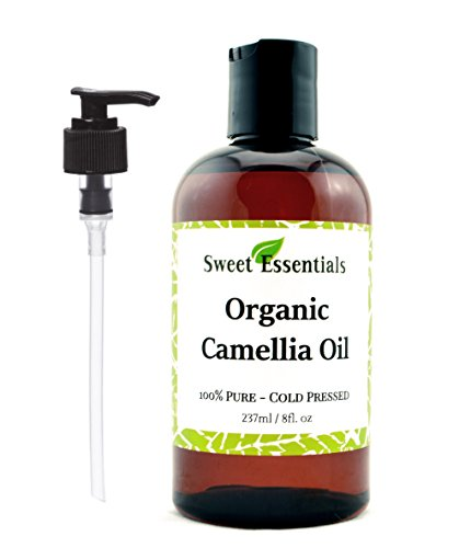 Organic Camellia Seed Oil | Imported From Japan | 8oz Bottle | 100% Pure | 100% Organic | For Hair & Skin Use | By Sweet Essentials (Camellia Oil Seed)