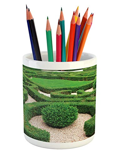(Lunarable Boxwood Hedge Pencil Pen Holder, Photo of Symmetric Complexity Garden Park Topiary Shrub on Gravels, Printed Ceramic Pencil Pen Holder for Desk Office Accessory, Green and Pale Tan)