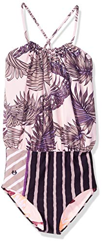 Maaji Little Girls' One Piece with Blouson Top Swimsuit, Bossa Nova boss Purple Palm, 2