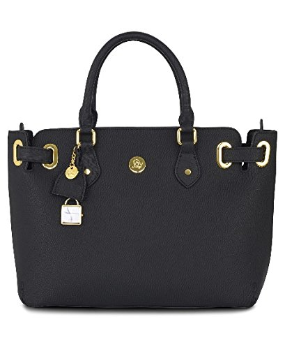 Joy Mangano Christie Leather Handbag Satchel, Black ()