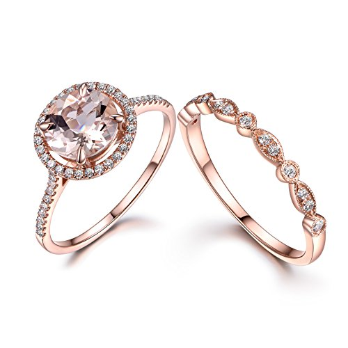 MYRAYGEM-wedding ring sets 2pcs Morganite Bridal Set,Engagement Ring Rose gold,Diamond Wedding,14k,8mm Round,Art Deco Eternity Band ()
