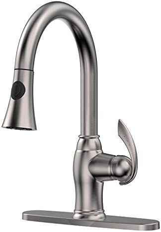 EMBATHER Lead-Free Brass Brushed Nickel Kitchen Faucet,Single Handle Pull-Down with Gravity Ball, High Arc 360 Rotatable Two-function Nozzle, Hot and Cold Sprayer Kitchen Sink Faucet for 1 or 3 hole
