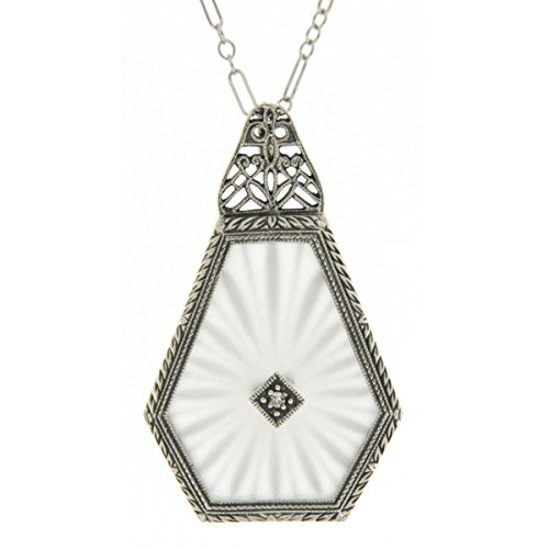Art Deco Style Sunray Camphor Glass Filigree Pendant Diamond Sterling Silver