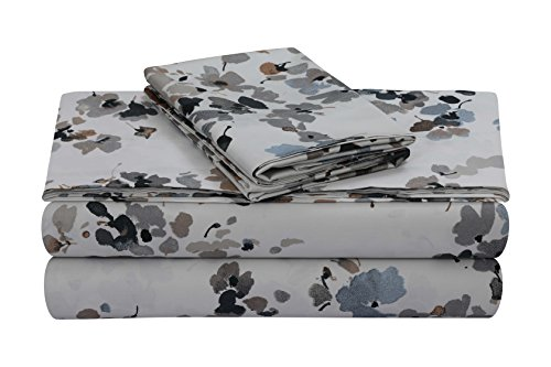 TRIBECA LIVING Lisbon 300 Thread Count Cotton Extra Deep Pocket Printed Sheet Set, King, Lisbon Grey/Multi