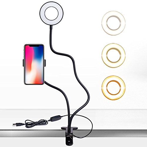 Cell Phone Holder Stand Lamp for Live Stream, Desk Clip LED Camera Selfie Ring Light for Android Phone iPhone 8 7 6 Plus X 6s by ICE-BINGO