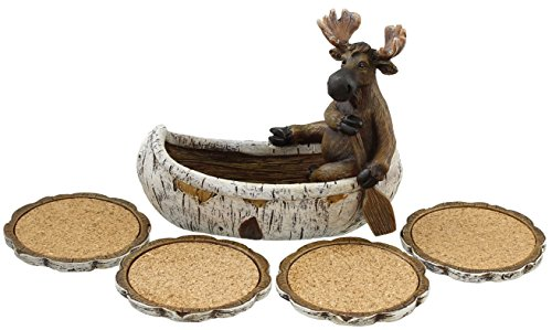 Decorative Moose Canoeing Coaster Set - 4 Rustic Cork Coasters & Holder Set by Old River Outdoors