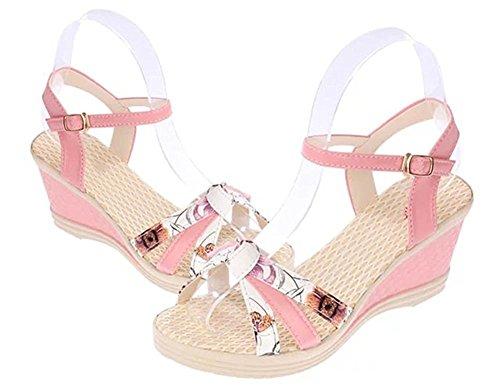 Minetom Mujer Verano Dulce Floral Cerrojo Sandalias Con Cuña Peep Toe Cabeza Pescado Zapatos De Tacón Alto Chancletas Zapatillas Rojo