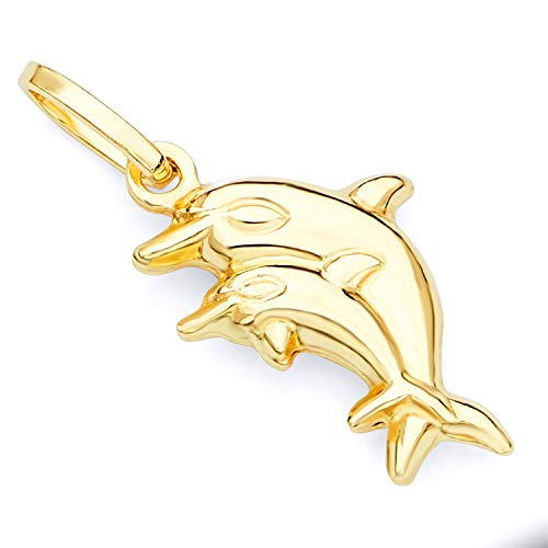 (Wellingsale 14K Yellow Gold Polished Double Dolphin Charm Pendant)