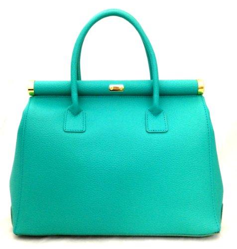 in Satchel en Made Turquoise bandoulière élégante Italy femme Bag véritable 35x28x16cm poignées Beige CTM cuir Bnq0EA8w7