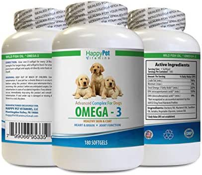 dog allergy anti itch - DOG OMEGA 3 - HEALTHY SKIN COAT AND JOINTS - BRAIN AND HEART HEALTH - ALLERGY RELIEF - amazing nutritionals omega 3 chews for dogs - 1 Bottle (180 Softgels)