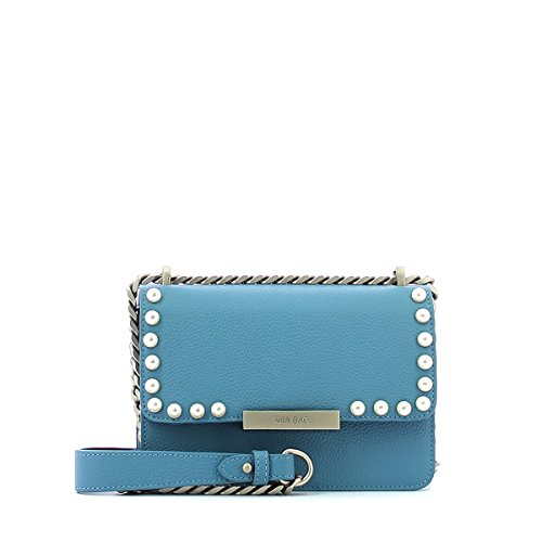 pearls Leather Leather pochette with pochette Azzurro Kate UrrXnqxZ