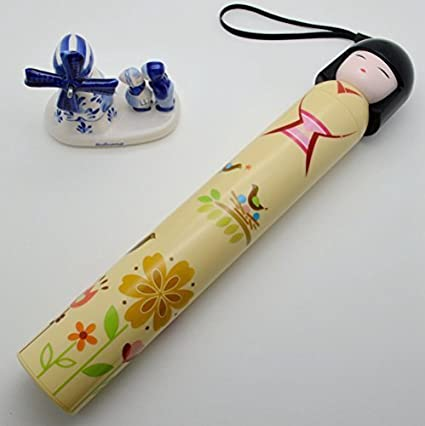 KitMax (TM) Novelty Cute 3 Folding Japanese Kimono Doll Kokeshi Children Bottle Umbrella (