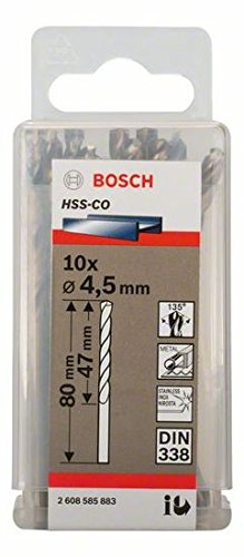 Bosch Professional Metallbohrer HSS-Cobalt 10 St/ück, /Ø 4,5 mm