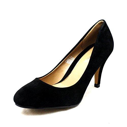 Zapatos de las señoras de la corte del talón bajo Black Suedette