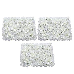 Prettyia Pack of 3 Artificial Silk Flower Rose Hydrangea Wall Panels Wedding Backdrop Decor Cream 107