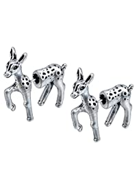 3d Fake Gauge Bambi Deer Faux Plug Cute Animal Earrings Antique Silver Jewelry Gift for Women and Girls