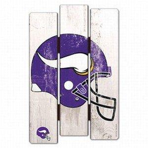 (WinCraft NFL Minnesota Vikings Wood Fence Sign, Black )