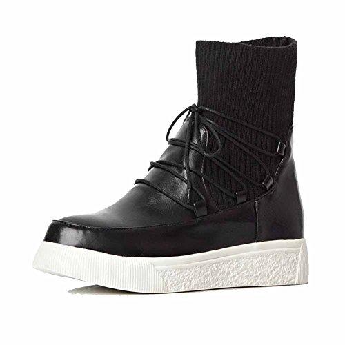 AgooLar Damen Rein Niedriger Absatz Rund Zehe Blend-Materialien Schnüren Stiefel mit Knoten, Grau, 38