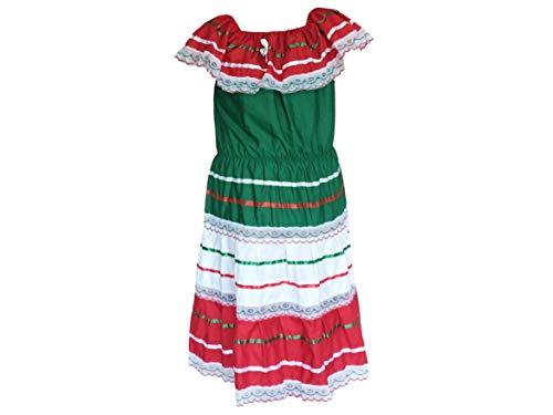 ARMENGOL Campesino Mexican Tricolor Dress Made by Mexican artisans (Small, Green, White and red)