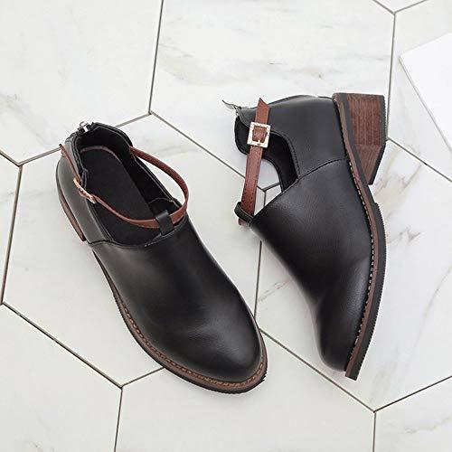 de Negro Hebilla de Botas Mocasines Cinnamou Zapatos de Mujer Tacón Calzado Mujeres Elegantes de Mini Trabajo Martin para Corto ZqUq1v