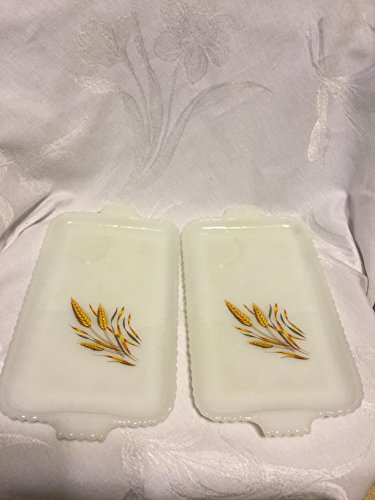 Vintage Anchor Hocking Fire King Milk Glass Wheat Rectangular Snack Tray Set of Two (2)
