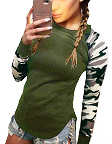 Tops Blouse Arme Casual Chemisiers Tees Jumpers Rond Camouflage Col Automne Longues et Simple Shirts Printemps Shirts Slim Sweat Manches T pissure Hauts Fashion Femmes Verte Fashion qgSUZWP