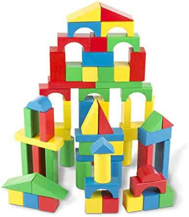 Melissa & Doug Wooden Building Blocks Set, Developmental Toy, 100 Blocks in 4 Colors and 9 Shapes, 13.5
