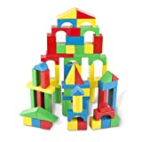 Melissa & Doug Wooden Building Blocks Set, Developmental Toy, 100 Blocks in 4 Colors and 9 Shapes, 34.29 cm H x 8.89 cm W x 22.86 cm L