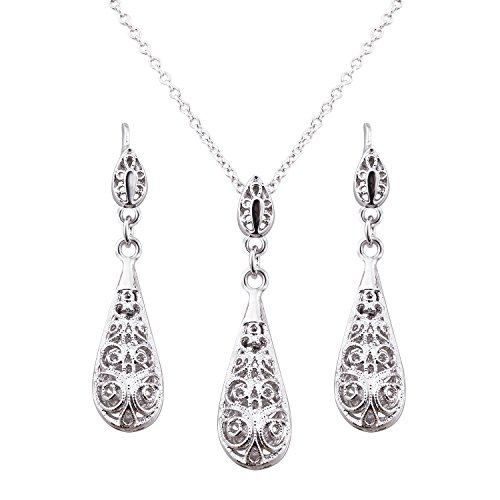 FAIRY COUPLE Silver Antique Tear Drop Filigree Floral Pendant Necklace Earring Jewelry Set S117