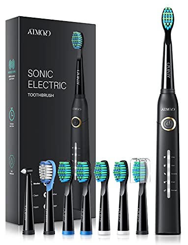 41K0ZGi8j6S ALTA VIBRACIÓN DE 40000 VPM: HP126A cepillo de dientes sónico equipado con un motor motorizado líder en el mundo para generar 40,000 MICRO CEPILLOS PER MINUTE; Disolver la suciedad profunda de los dientes de manera efectiva. El efecto de limpieza 10X que el cepillo de dientes manual y 3X que el cepillo de dientes eléctrico ordinario; 7 DÍAS para blanquear los dientes y 14 DÍAS para dientes más saludables 5 MODOS DE CEPILLADO OPCIONALES: El modo BLANQUEO ayuda a blanquear los dientes mediante el uso de hasta 40,000 VPM; LIMPIEZA puede eliminar 10 veces más manchas a lo largo de la encía; SENSIBLE está diseñado para el nuevo usuario del cepillo de dientes electricos; MASAJE mejora la salud de las encías al proporcionar micro-explosiones relajantes en los tejidos para mejorar la circulación PULIDO ayuda a los dientes brillantes usando frecuencias invertidas para eliminar las manchas superficiales 8 * CABEZALES DE CEPILLO 3D DURAN 2 AÑOS: HP126A cepillo de dientes sonic viene con 8 cabezales de recambio diseñados por la compañía DuPont - Un líder mundial en el campo de la calidad y la ciencia de los materiales; Cada cabezal de cepillo dura hasta 3 meses, por lo que será más de 2 años para 8 en total; El cepillo está diseñado de forma 3D y los cabezales pueden adaptarse perfectamente a las encías y la topografía de los dientes, son fáciles de alcanzar profundamente entre los dientes