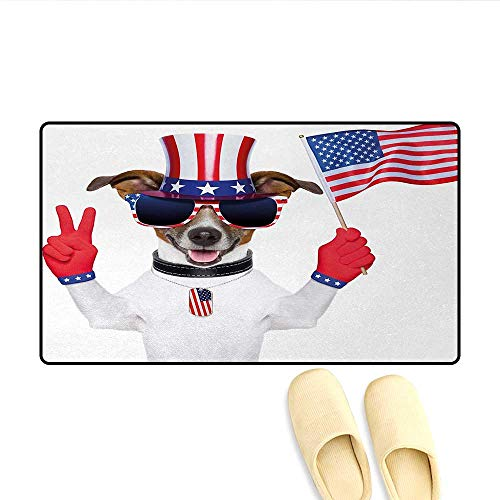 Bath Mat,Funny Pet Dog with an Uncle Sam Hat Holding a Peace Sign and an American Flag,Door Mat Increase,Multicolor,Size:20