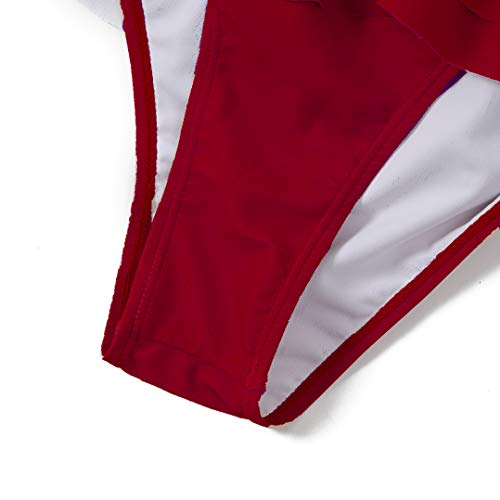 CIZITZZ Women's Sexy One Piece Swimsuit High Waisted Falbala Swimwear V Neck Adjustable Strap Bathing Suits,Red,M