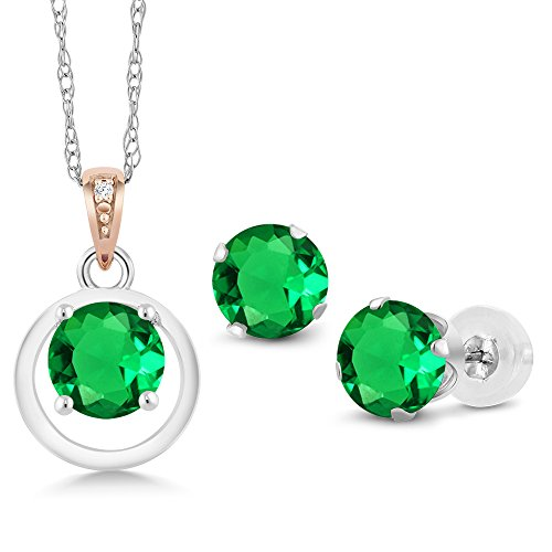 925 Silver & 10K Rose Gold Simulated Emerald Diamond Accent Pendant Earrings Set