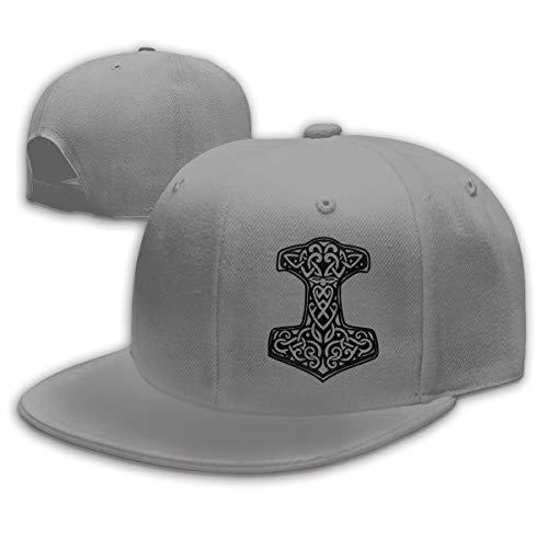 Thor's Hammer Viking Norse Adjustable Snapback Hats Men's Women's Hip-Hop Flat Bill Baseball Caps Gray (Thor Flat Bill Hats)