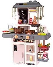 Kinderplay KP3303 Speelkeuken voor kinderen, speelgoed, licht, klei, water, waterdamp, koken imiteert, 42 accessoires in set, KP3303