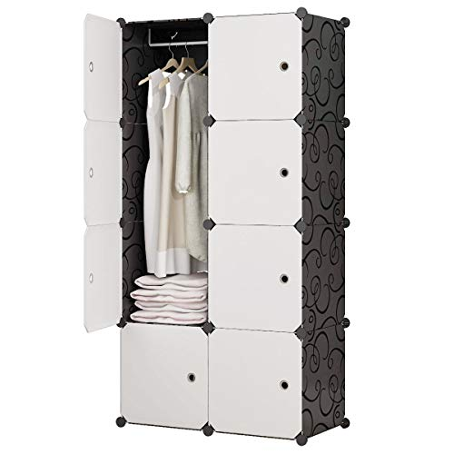 KOUSI Portable Closet Wardrobe Closet Clothes Closet Bedroom Armoire Storage Organizer with Doors, Spacious & Sturdy, Extra Space & Durable Black, 5 Cubes 1 Hanging Clothes-FBA
