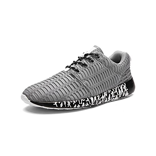 Mens Running Casual Lace Up Shoes Breathable Roshe Lightweight Gym Sports Trainers Shoes Grey TinU0li