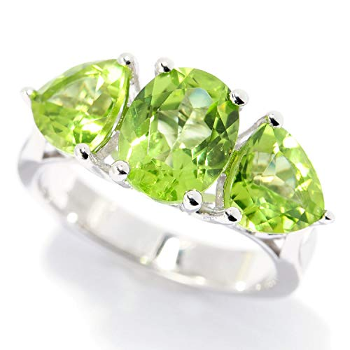 (Pinctore Sterling Silver Oval & Trillion Peridot Ring)