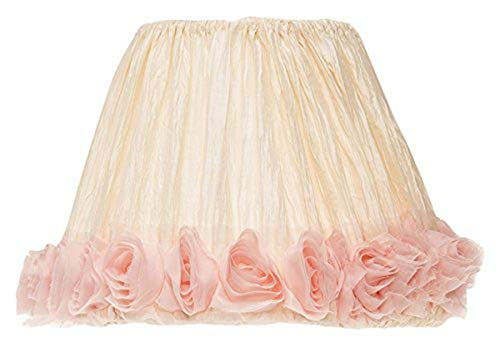 Glenna Jean Victoria Lamp Shade Only, Cream Crinkle Pink Roses, 9 x 12